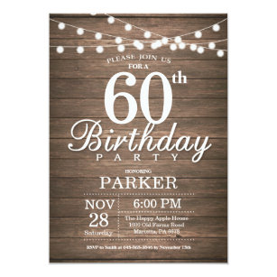 40th birthday for women invitations announcements zazzle rustic 60th birthday invitation string lights wood filmwisefo