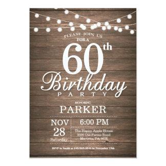 Rustic 60th Birthday Invitation String Lights Wood