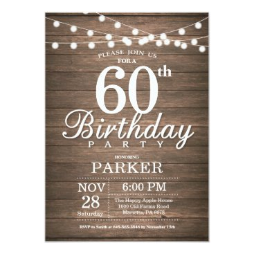 Beach Themed Rustic 60th Birthday Invitation String Lights Wood