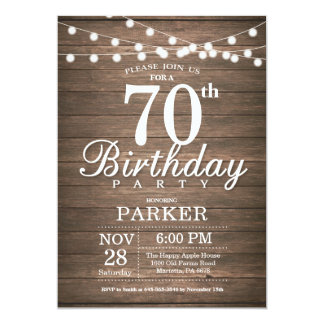 Rustic 70th Birthday Invitation String Lights Wood