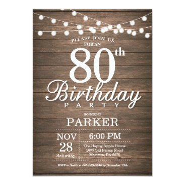 Beach Themed Rustic 80th Birthday Invitation String Lights Wood
