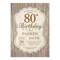 Rustic 80th Birthday Invitation Wood