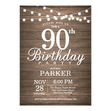 Beach Themed Rustic 90th Birthday Invitation String Lights Wood