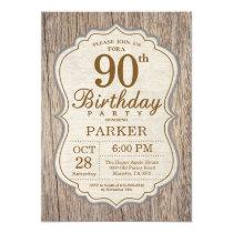 Rustic 90th Birthday Invitation Wood