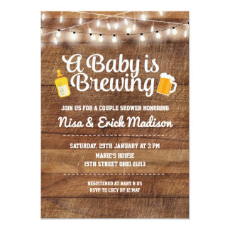 Rustic a baby is brewing invitation