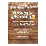 Rustic A Baby Is Brewing Invitation For Boy at Zazzle