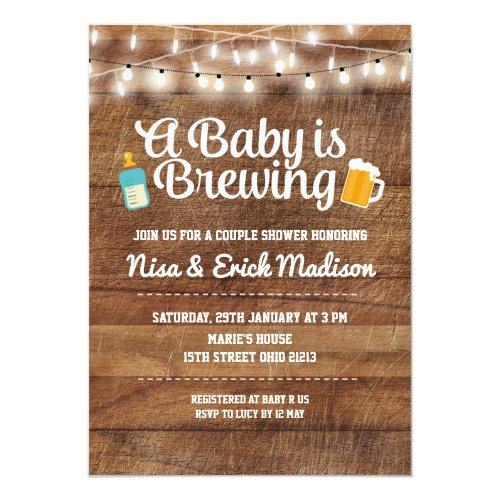 Rustic a baby is brewing invitation for boy