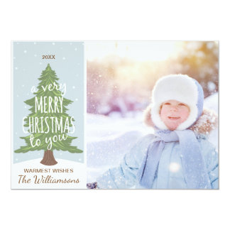 Rustic A Very Merry Christmas Snow Holiday Photo Card