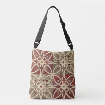 Rustic Abstract Floral Trendy Tile Pattern Crossbody Bag