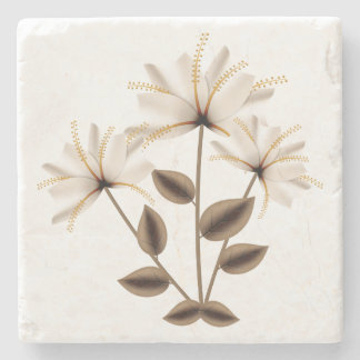Rustic Abstract Ivory Brown Flower Green Leaves Stone Beverage Coaster