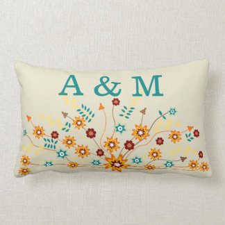 Rustic Abstract Wildflowers Add Your Own Initials Lumbar Pillow