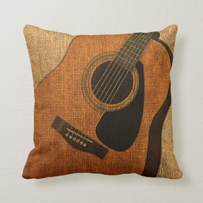 Rustic Acoustic Guitar Throw Pillow Zazzle