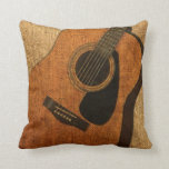 Rustic Acoustic Guitar Throw Pillows
