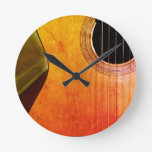 Rustic Acoustic Guitar Wall Clock