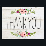 "Rustic Adorned with Floral | Thank You Postcard<br><div class=""desc"">Cute thank you card for your guests!</div>"