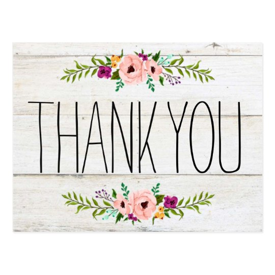 Rustic Adorned With Floral Thank You Postcard
