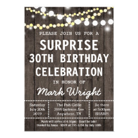 Rustic Adult Surprise Birthday Party Invitation