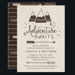 "Rustic &quot;Adventure Awaits&quot; Baby Shower Invitations<br><div class=""desc"">&quot;Adventure awaits&quot;! in these rustic adventure themed baby shower invitations. Featuring hand-drawn mountains and arrows in simple brown and cream. Perfect for woodland / camping / tribal adventure themed baby showers.</div>"