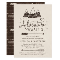 "Rustic ""Adventure Awaits"" Baby Shower Invitations"