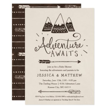 """Toddler & Baby themed Rustic """"Adventure Awaits"""" Baby Shower Invitations"""
