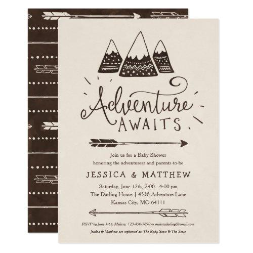 Rustic Adventure Awaits Baby Shower Invitations