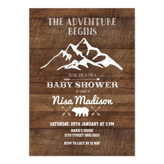 rustic adventure begins baby shower invitation zazzle