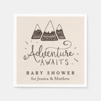 Rustic Adventure Themed Baby Shower Napkins