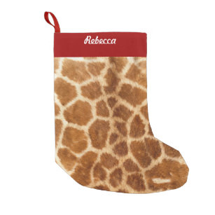 rustic african fashion safari animal giraffe print small christmas stocking