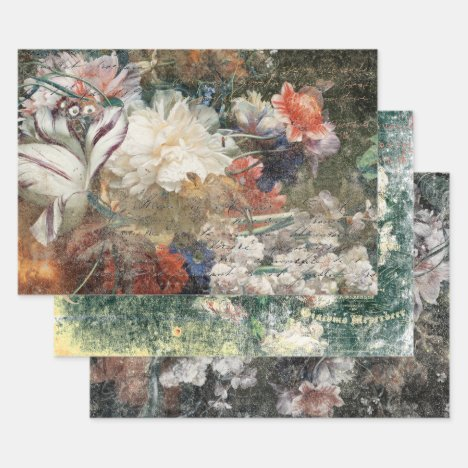 RUSTIC AGED ANTIQUE FLORALS DECOUPAGE WRAPPING PAPER SHEETS