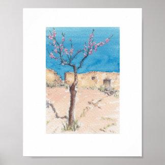 Rustic almond blossom ruin watercolor art prints poster