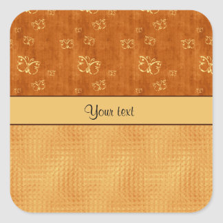 Rustic Amber  & Butterflies Square Sticker