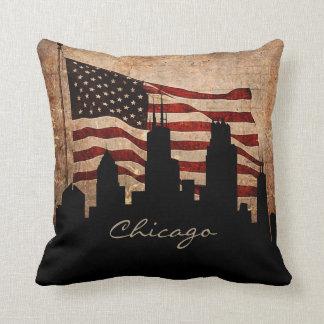 Rustic America Flag Chicago Skyline | Landmark Throw Pillow
