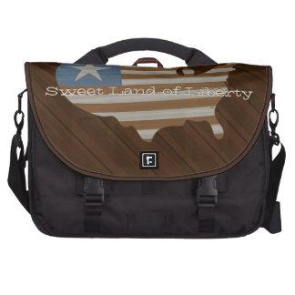 Rustic America Flag Laptop Bags