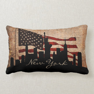 Rustic America Flag New York Skyline | Landmark Lumbar Pillow