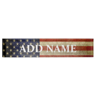 Rustic American Flag Desk Name Plate