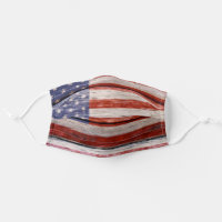 Rustic American Flag. Patriotic Cloth Face Mask