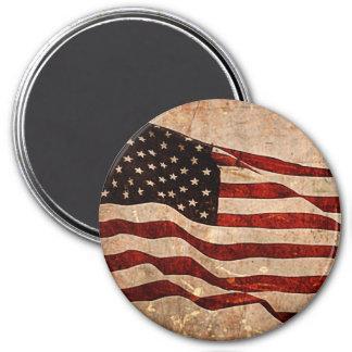 Rustic American Flag - Patriotic Print 3 Inch Round Magnet