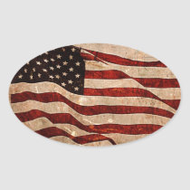 Rustic American Flag - Patriotic Print Oval Sticker