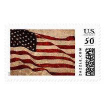 Rustic American Flag - Patriotic Print Postage