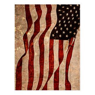 Rustic American Flag - Patriotic Print Postcard