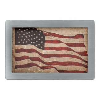 Rustic American Flag - Patriotic Print Rectangular Belt Buckle