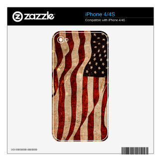 Rustic American Flag - Patriotic Print Skin For iPhone 4S