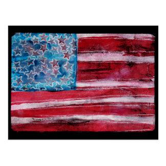 Rustic American Flag Postcard