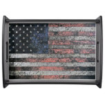 Rustic American Flag Service Trays