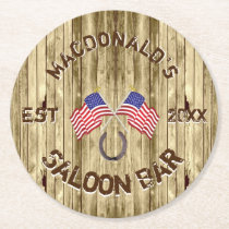 Rustic American Saloon bar Round Paper Coaster