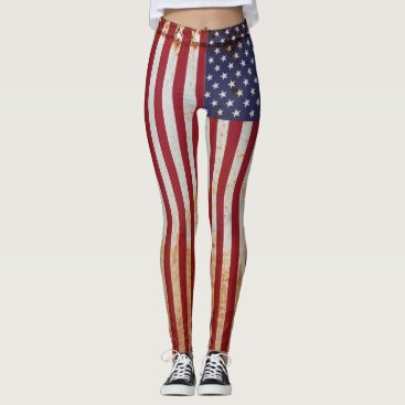 Rustic American USA Flag Leggings