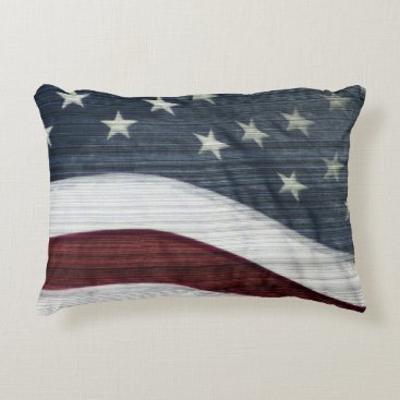 USA Themed Rustic Americana Accent Pillow