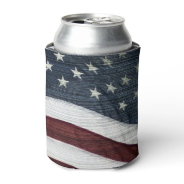 USA Themed Rustic Americana Can Cooler