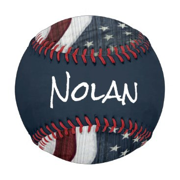 USA Themed Rustic Americana Custom Name Baseball