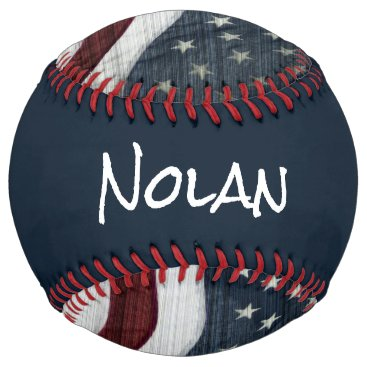USA Themed Rustic Americana Custom Name Softball